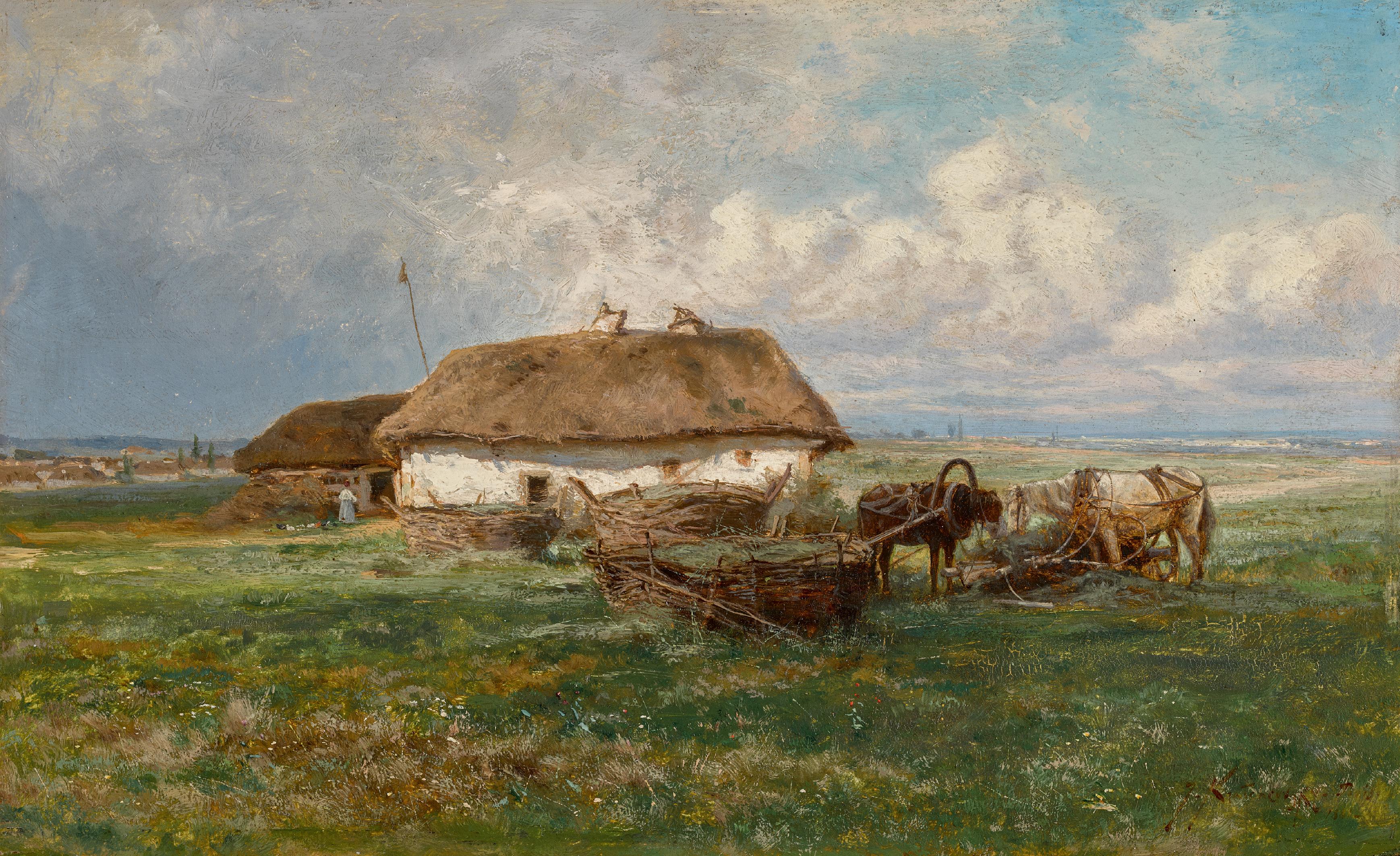 IOSIF EVSTAFIEVICH KRACHKOVSKY | Homestead with Horses
