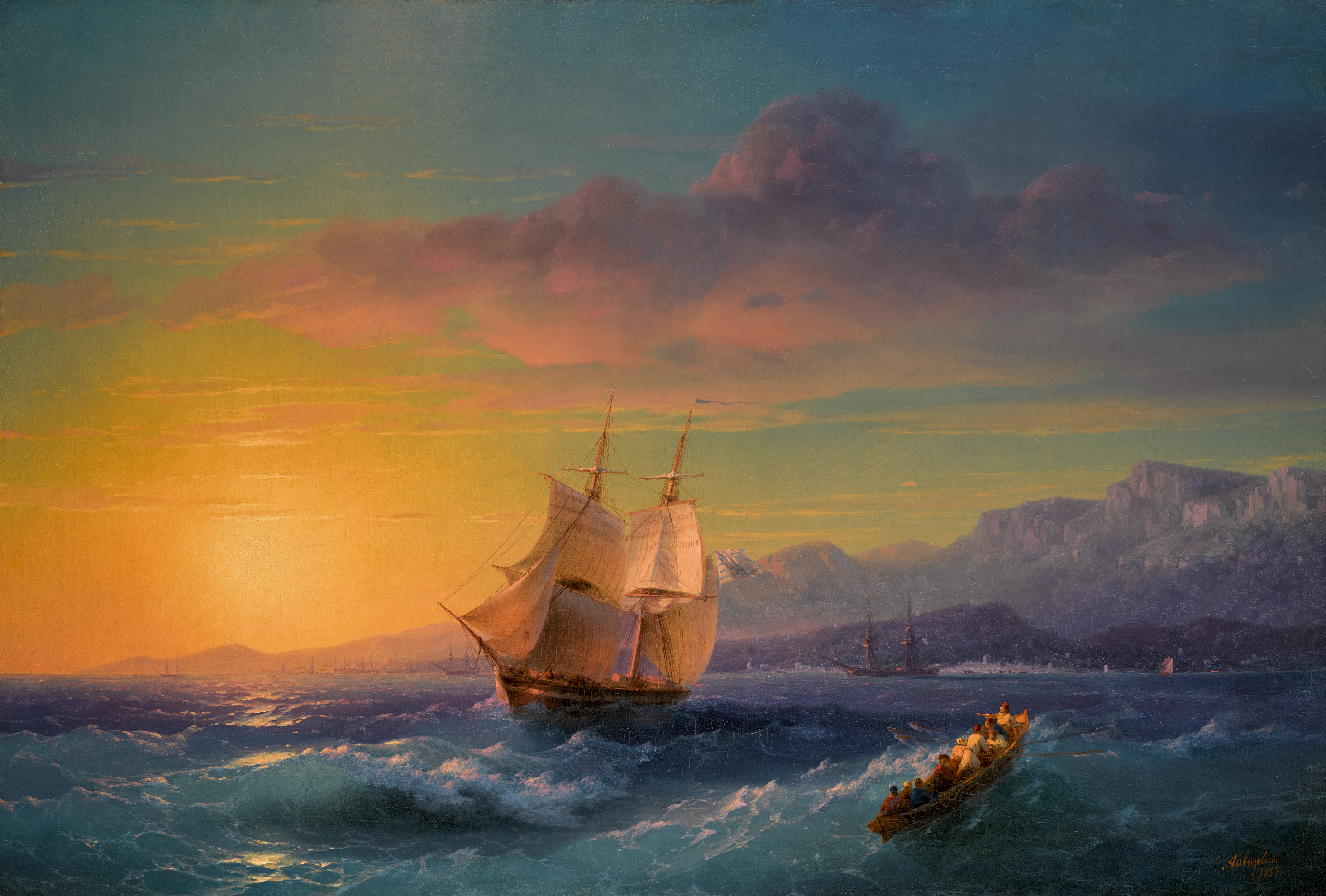 IVAN KONSTANTINOVICH AIVAZOVSKY |Ship at Sunset off Cap Martin