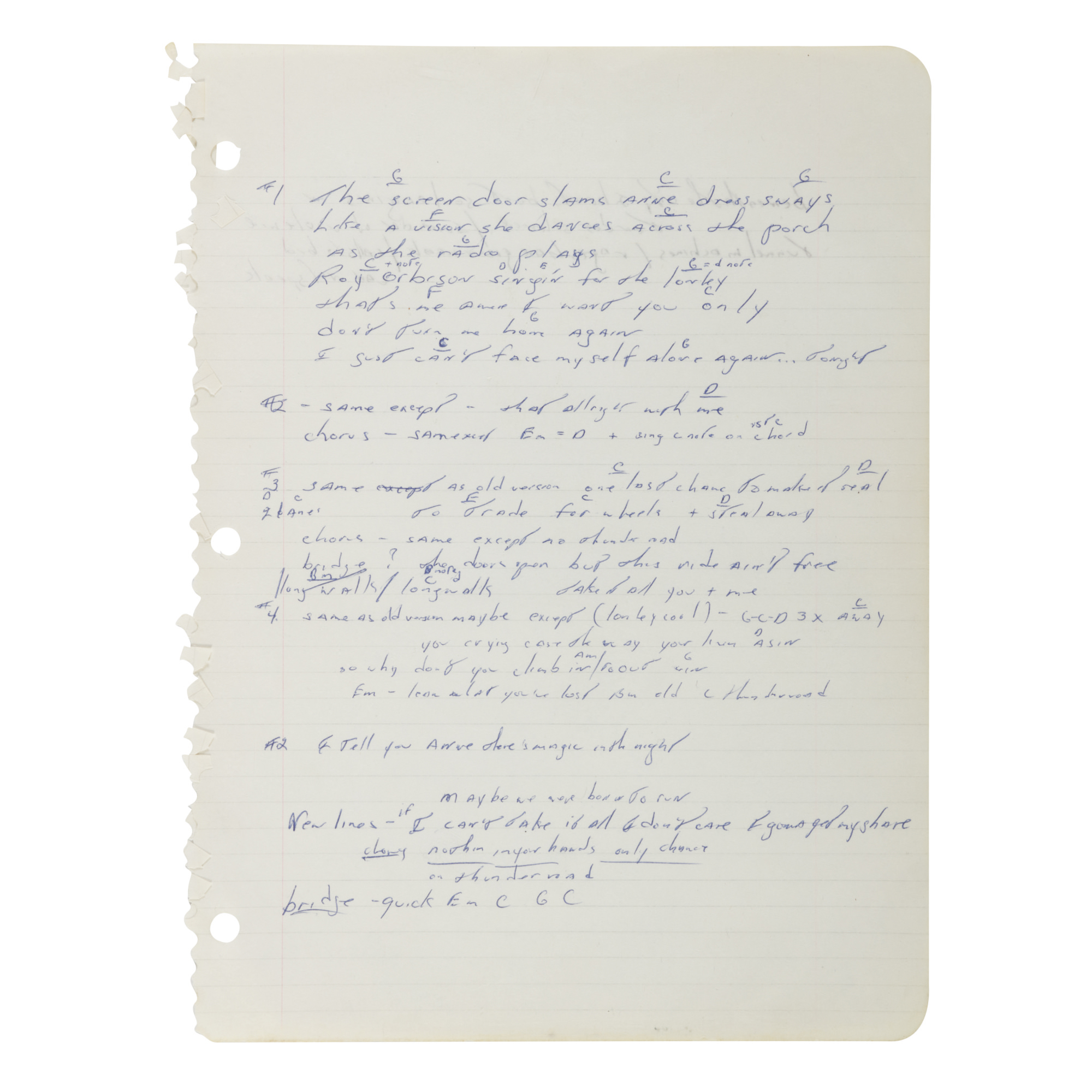 "SPRINGSTEEN, BRUCE | ""Thunder Road"" Working Manuscript, [Long Branch, New Jersey & New York City, ca. 1975]"